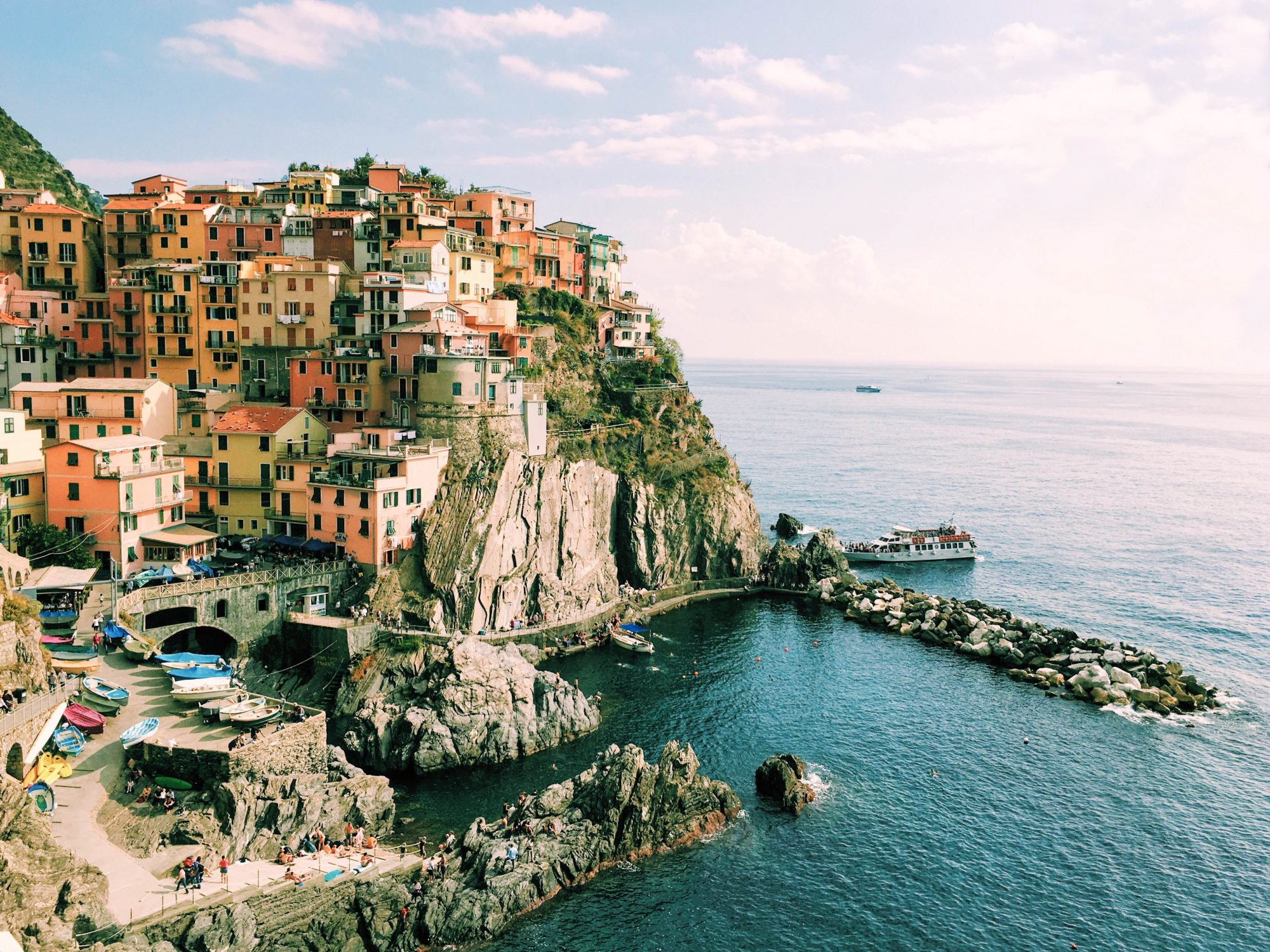 Aerial view of Manarola Italy one of the Cinque Terre towns on SelfishMe Travel LLC