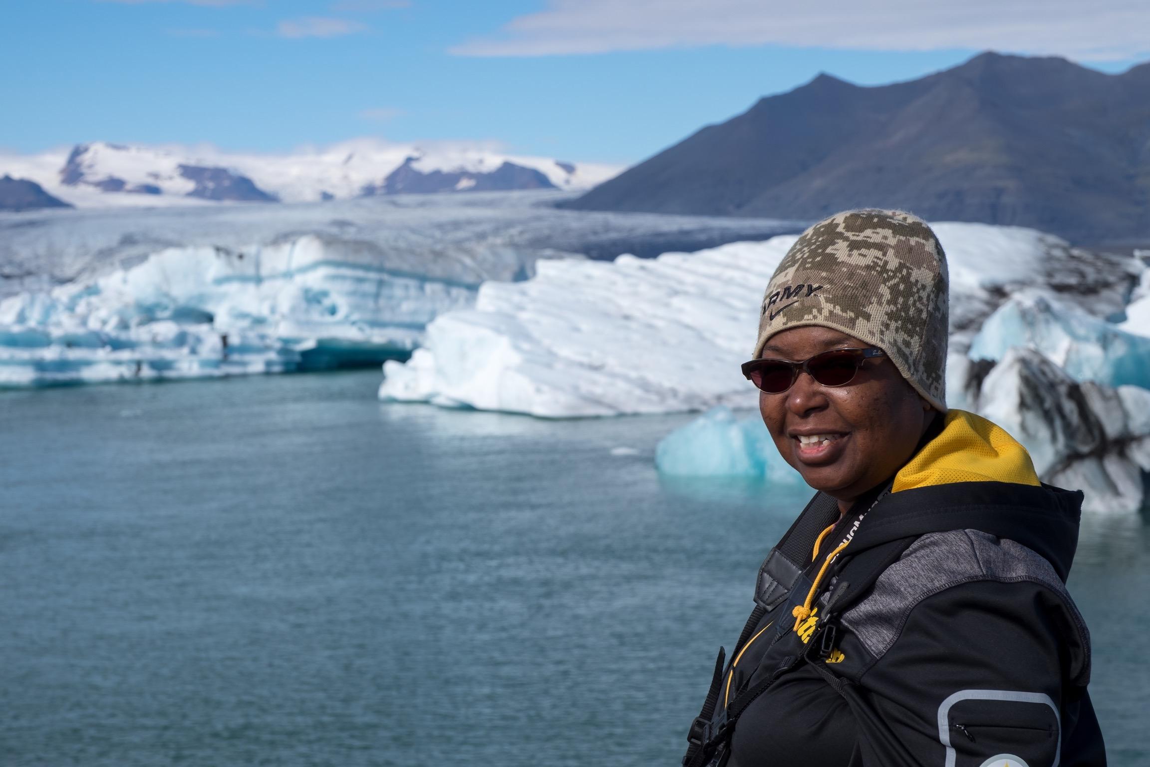 Danielle Lewis, owner of SelfishMe Travel LLC, at Glacier Lagoon (Jokulsarlon), Iceland