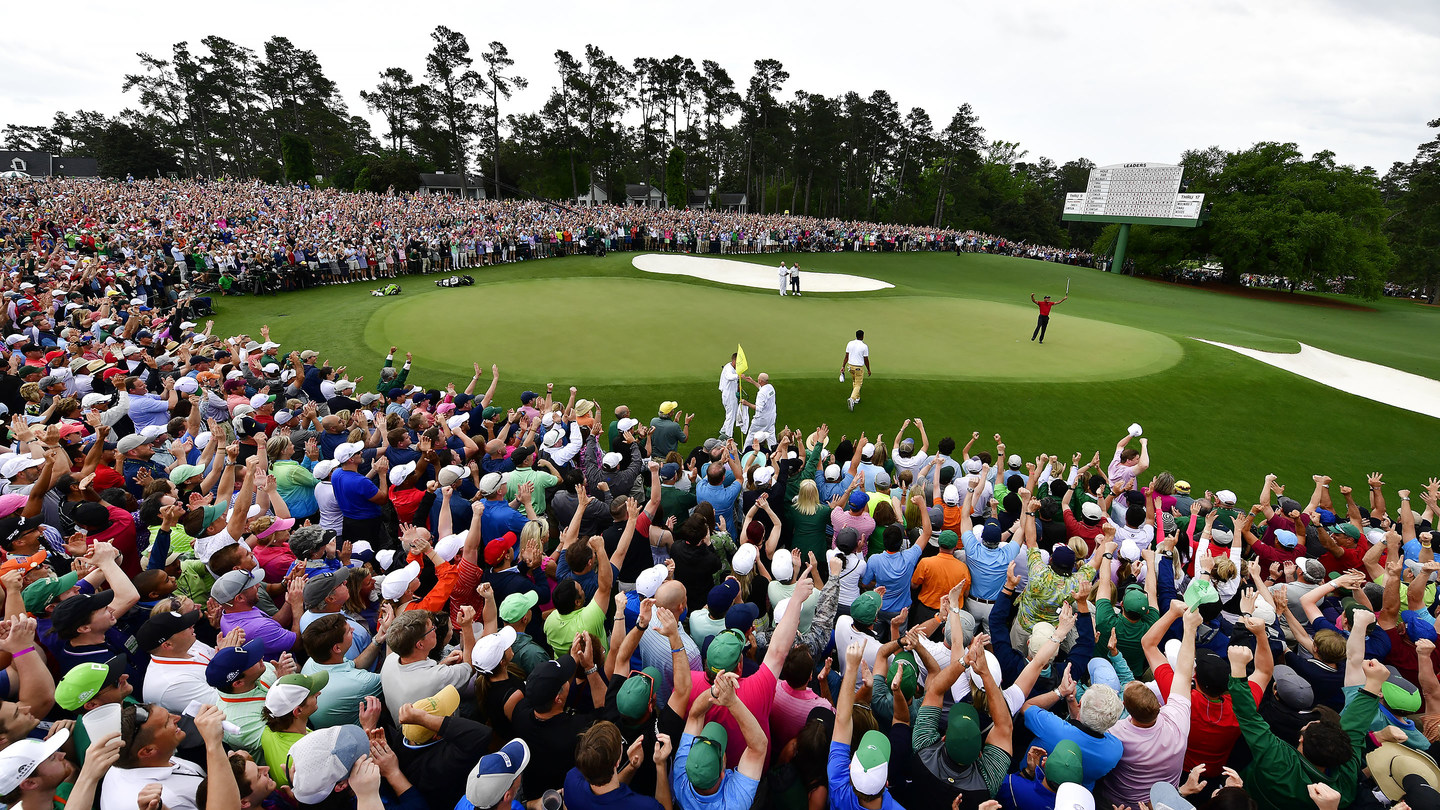 Masters champion Tiger Woods celebrates winning the Masters at Augusta National Golf Club on Sunday, April 14, 2019 as shown on SelfishMe Travel LLC