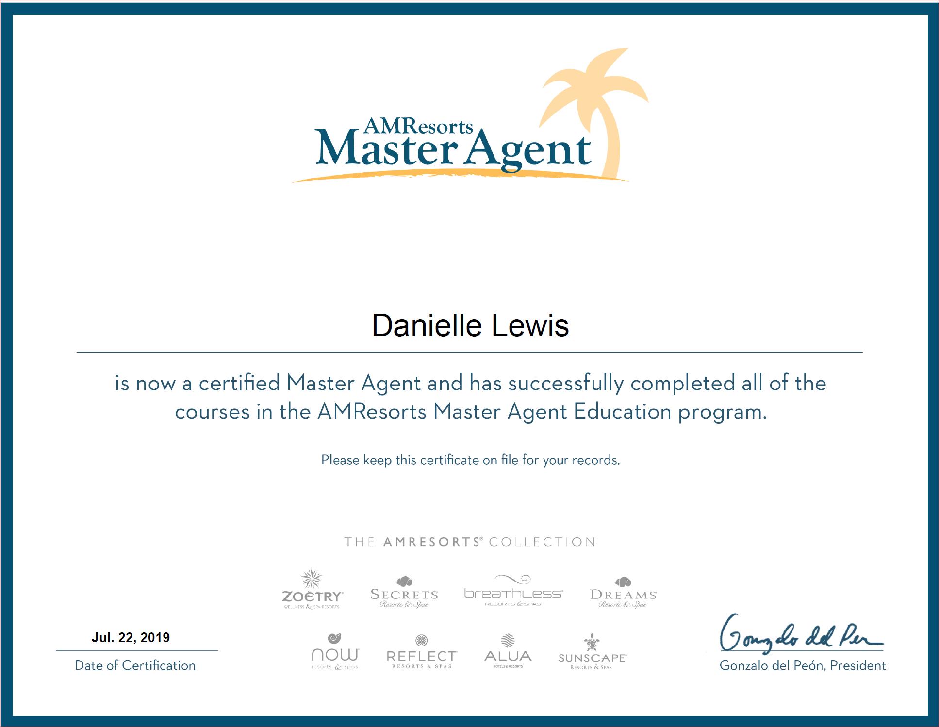 SelfishMe Travel - AMResorts Master Agent Certificate