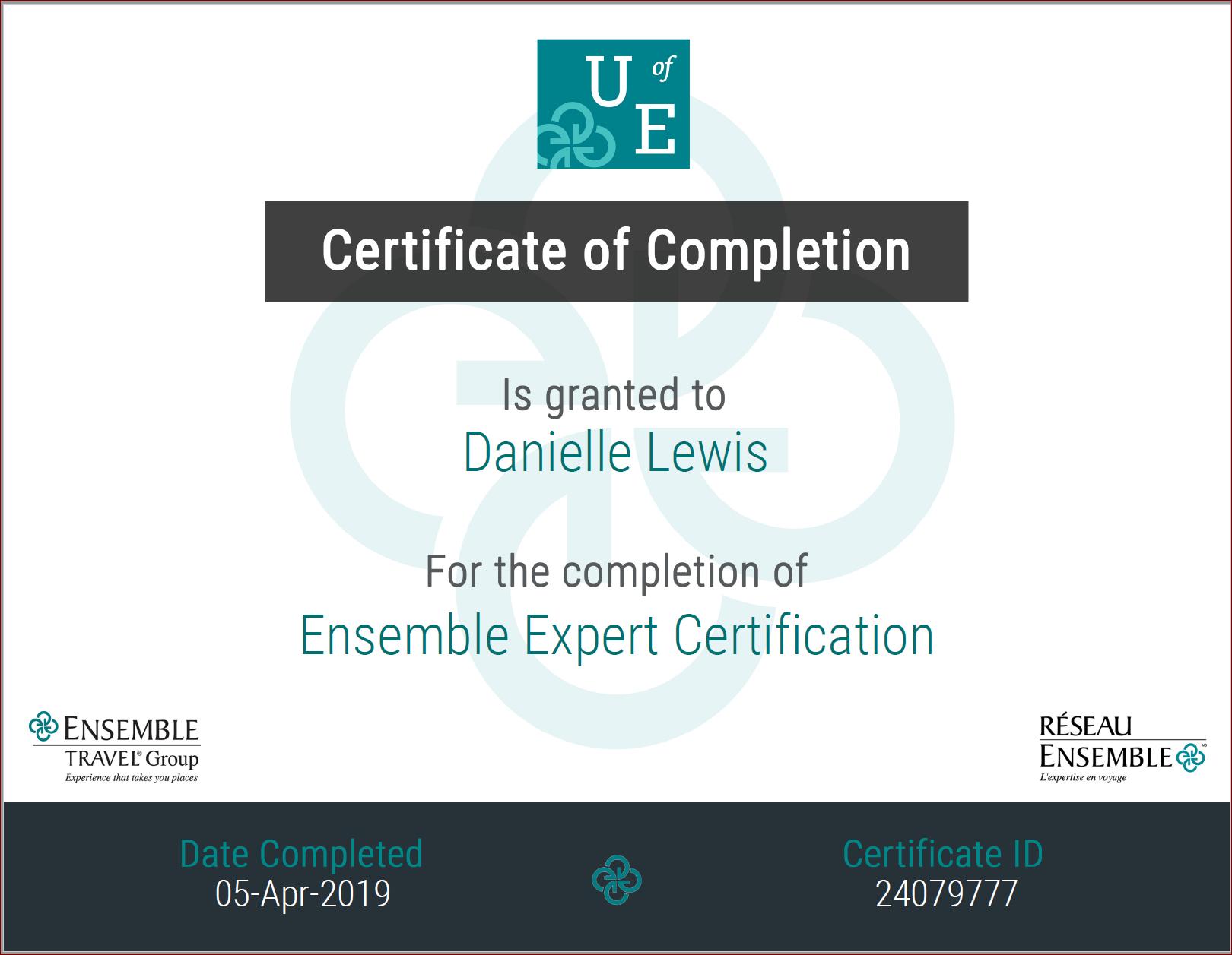 SelfishMe Travel - Ensemble (Consortium) Expert Certification