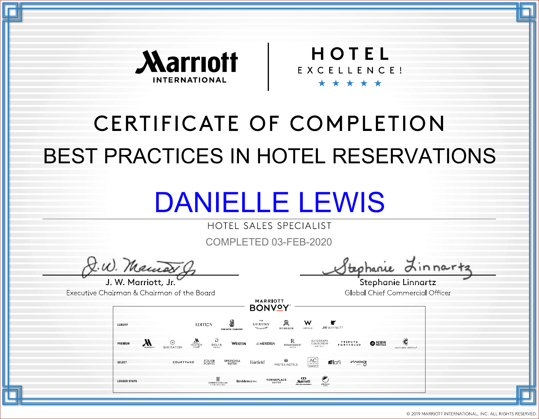 SelfishMe Travel - Marriott International Best Practices in Hotel Reservations Certificate