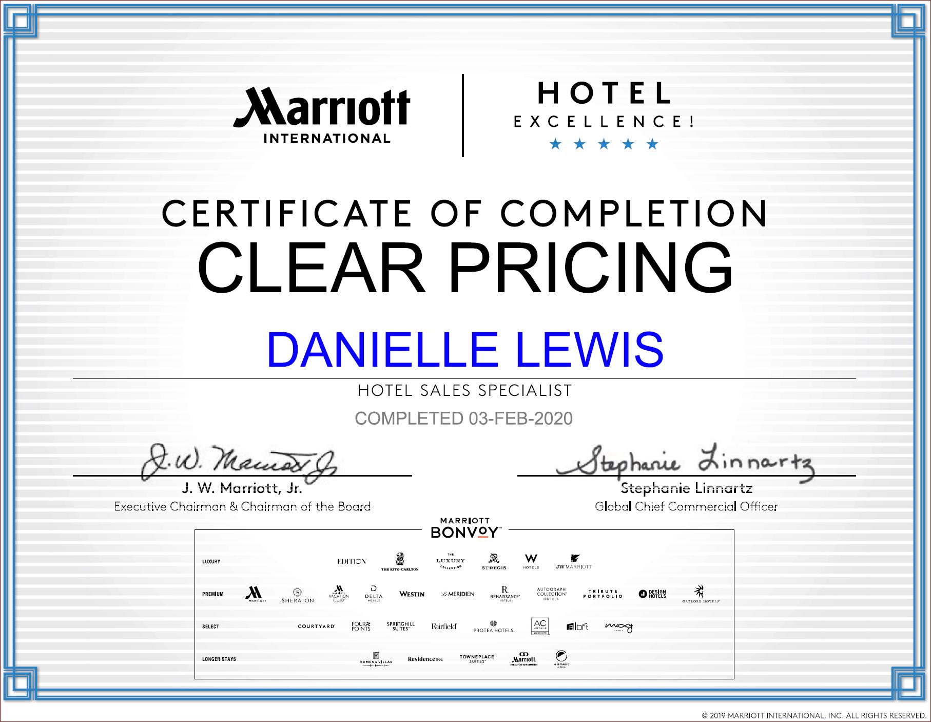 SelfishMe Travel - Marriott International Clear Pricing Certificate