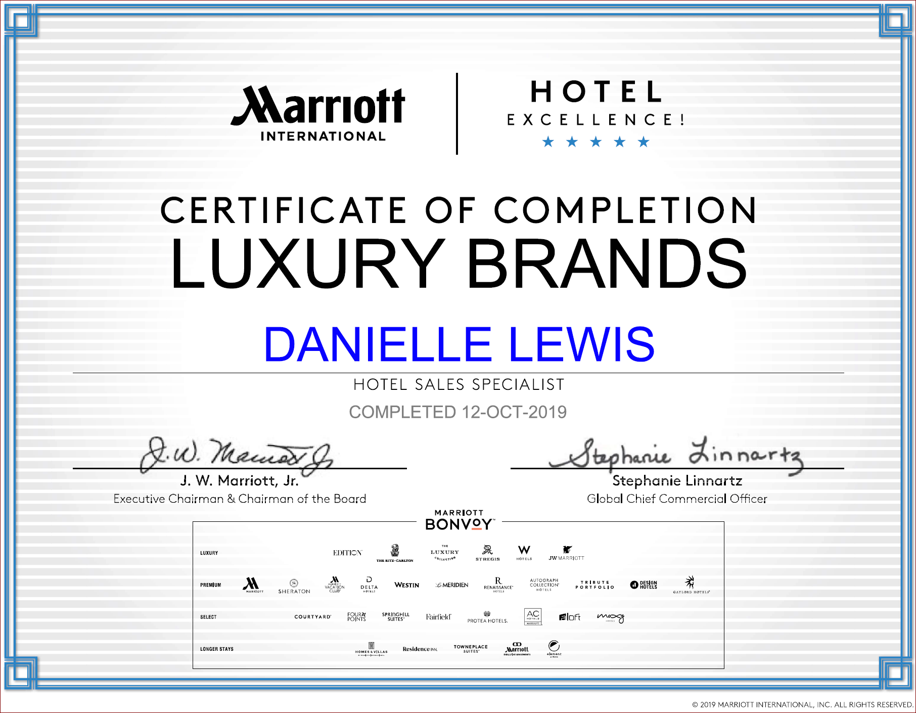 SelfishMe Travel - Marriott International Luxury Brands Certificate