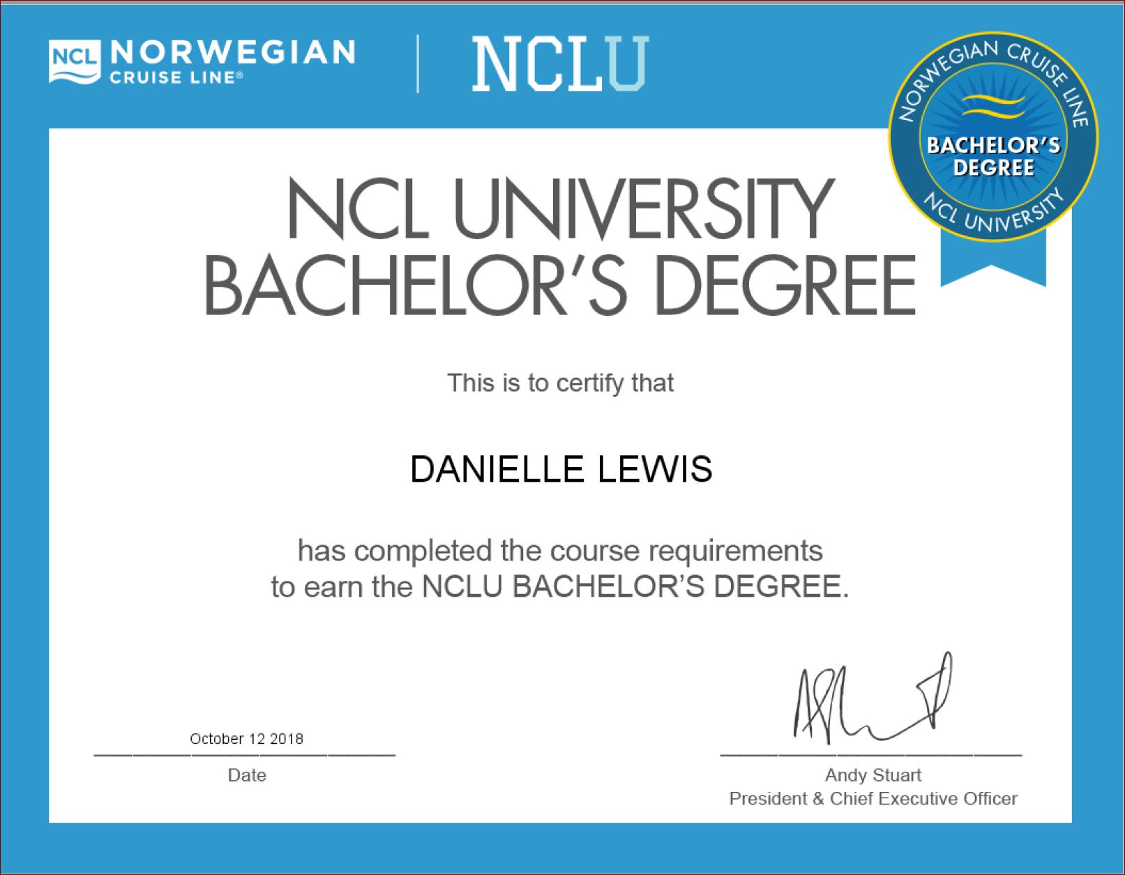 SelfishMe Travel - Norwegian Cruise Line University Bachelor's Degree