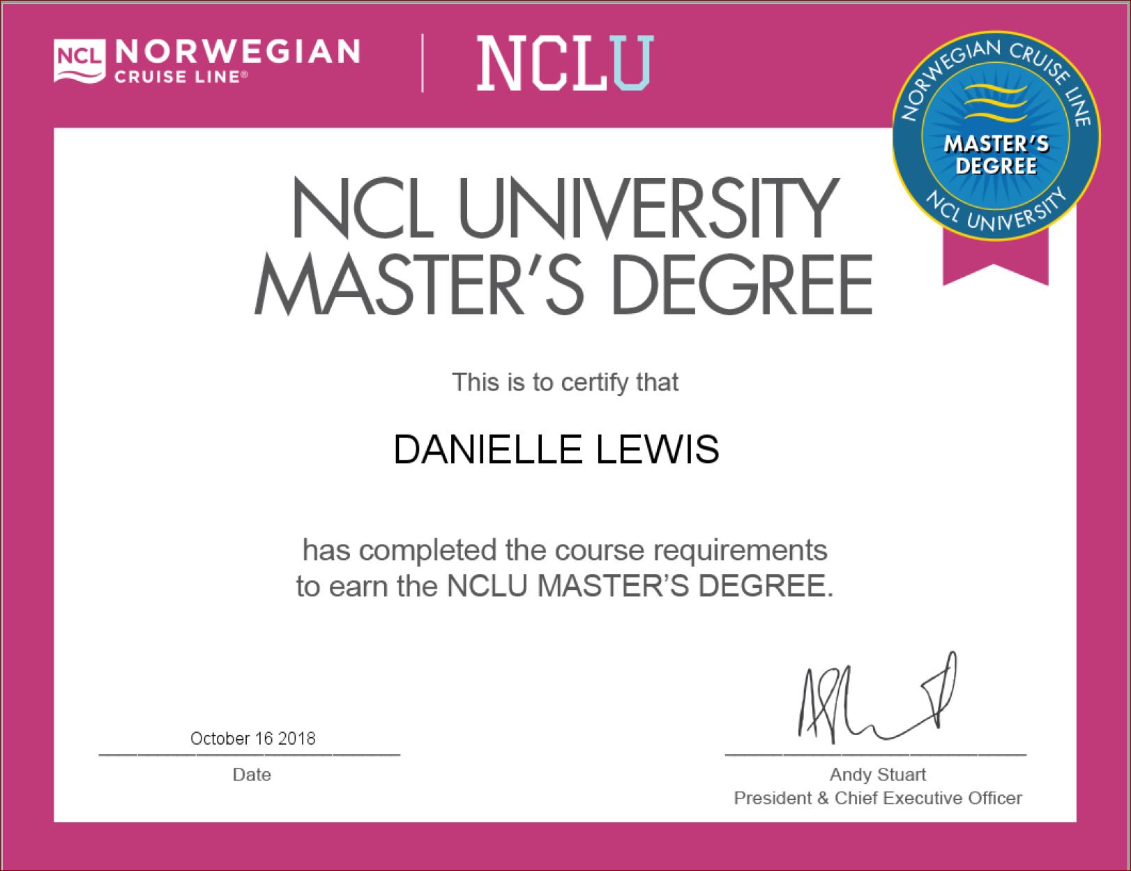 SelfishMe Travel - Norwegian Cruise Line University Master's Degree