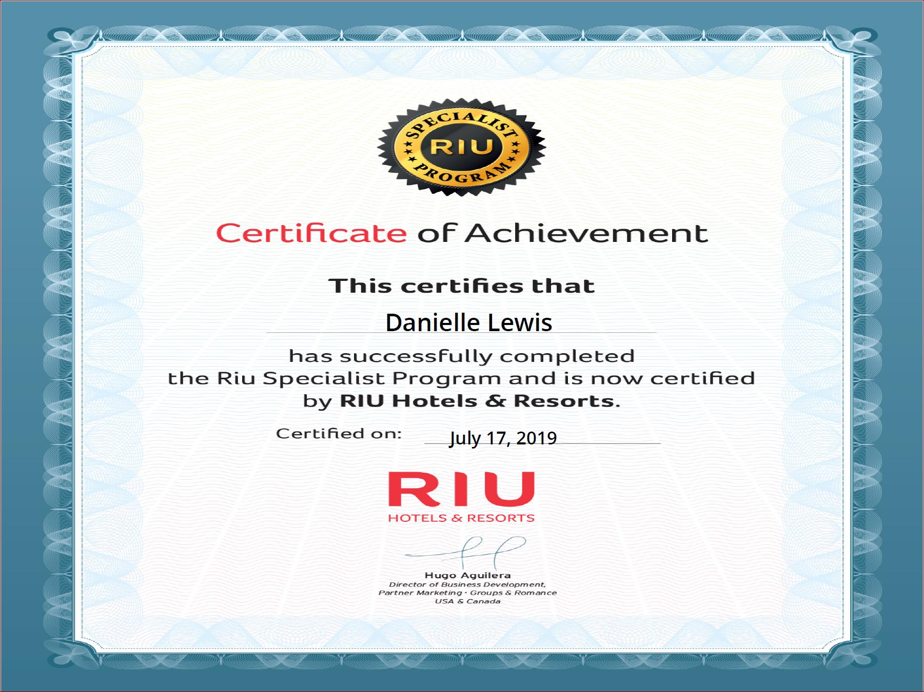 SelfishMe Travel - Riu Hotels & Resorts Specialist Certificate of Achievement