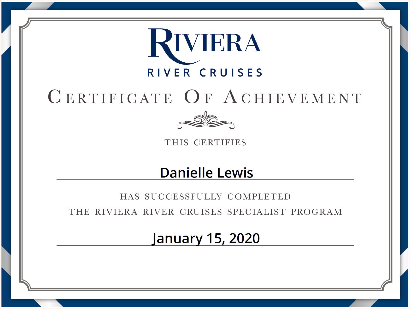 SelfishMe Travel - Riviera River Cruises Specialist Certificate of Achievement