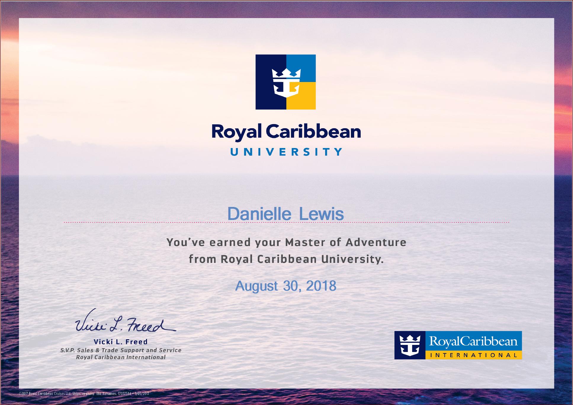 SelfishMe Travel - Royal Caribbean Cruise Line University Master of Adventure
