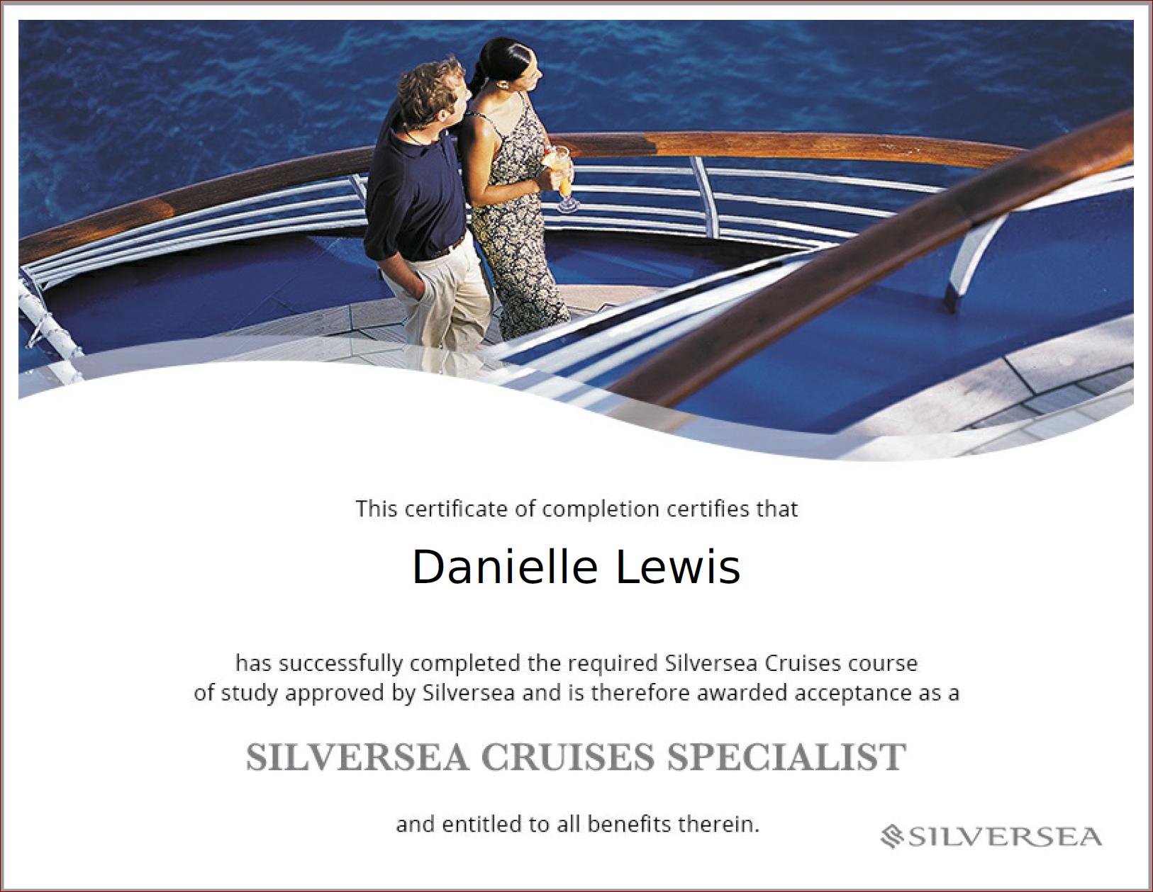 SelfishMe Travel - Silversea Cruises Specialist Certificate