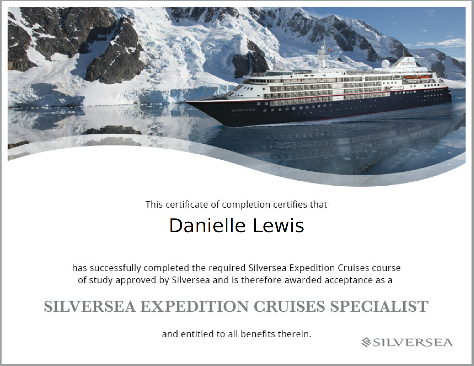 SelfishMe Travel - Silversea Expedition Cruises Specialist Certificate