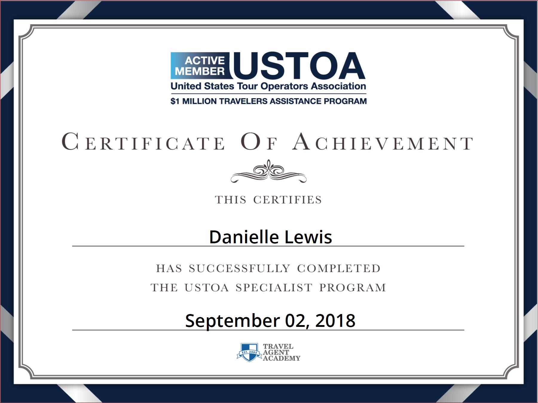 SelfishMe Travel - USTOA (United States Tour Operators Association) Specialist Certificate of Achievement