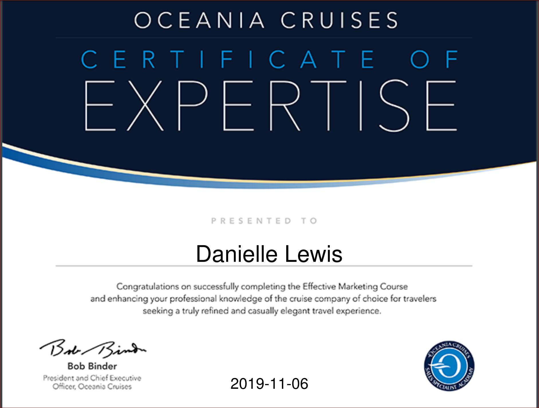 SelfishMe Travel - Oceania Cruises - Effective Marketing Certificate of Expertise