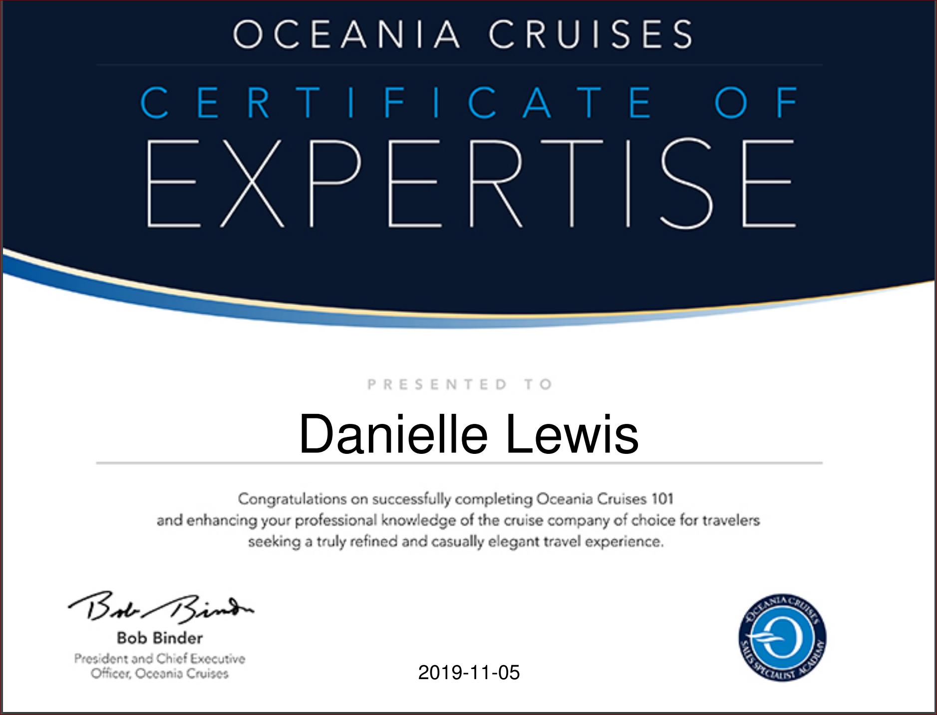 Oceania Cruises - 101 Certificate of Expertise