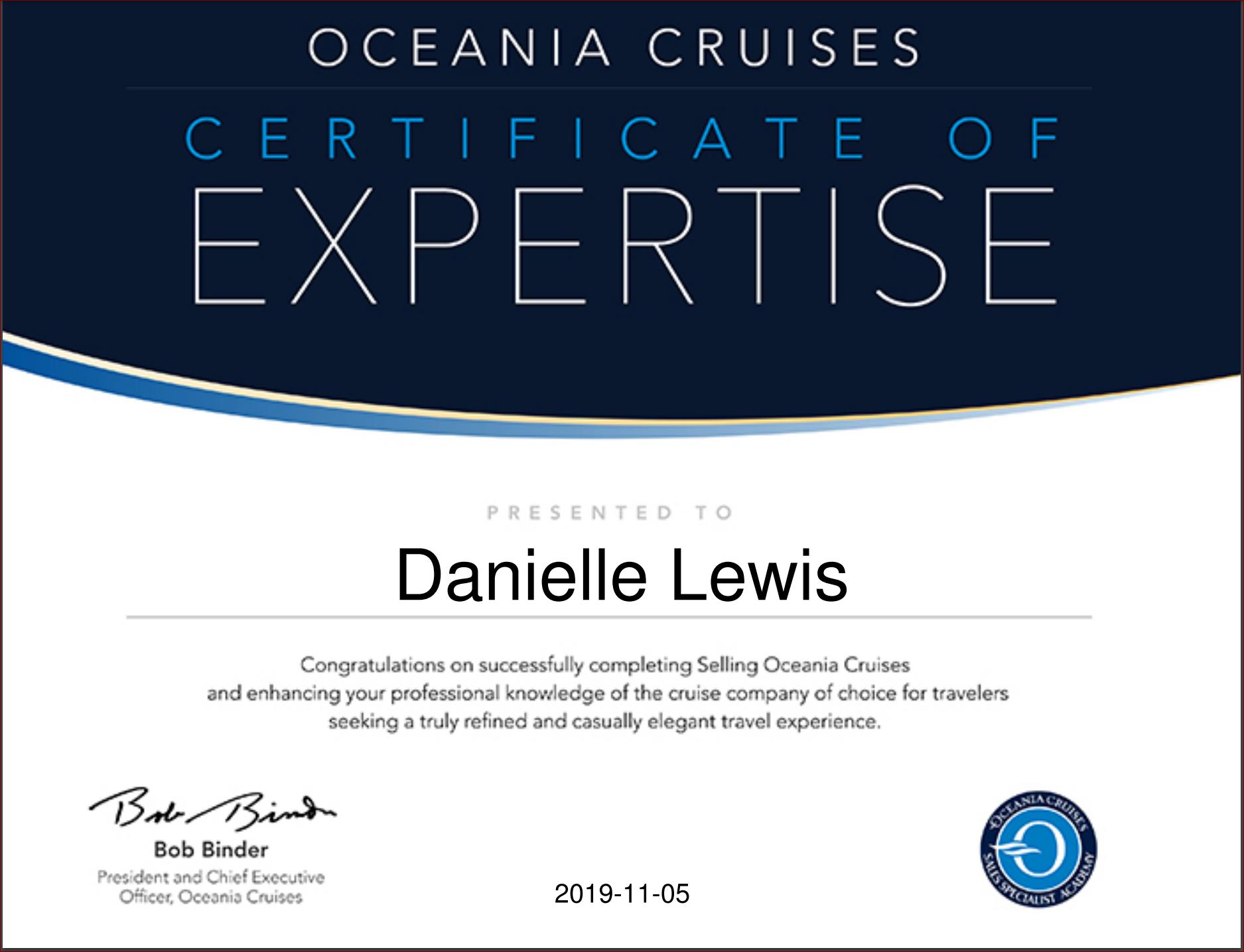 SelfishMe Travel - Oceania Cruises - Selling Certificate of Expertise