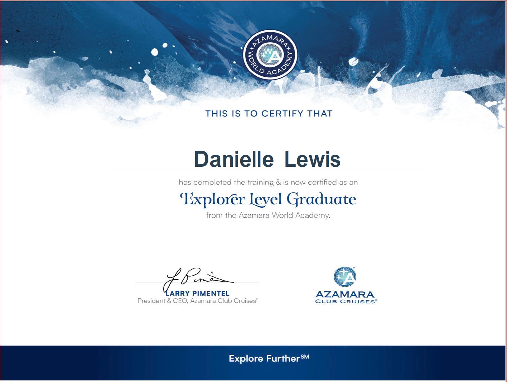 SelfishMe Travel - Azamara Club Cruises Explorer Level Graduate Certificate