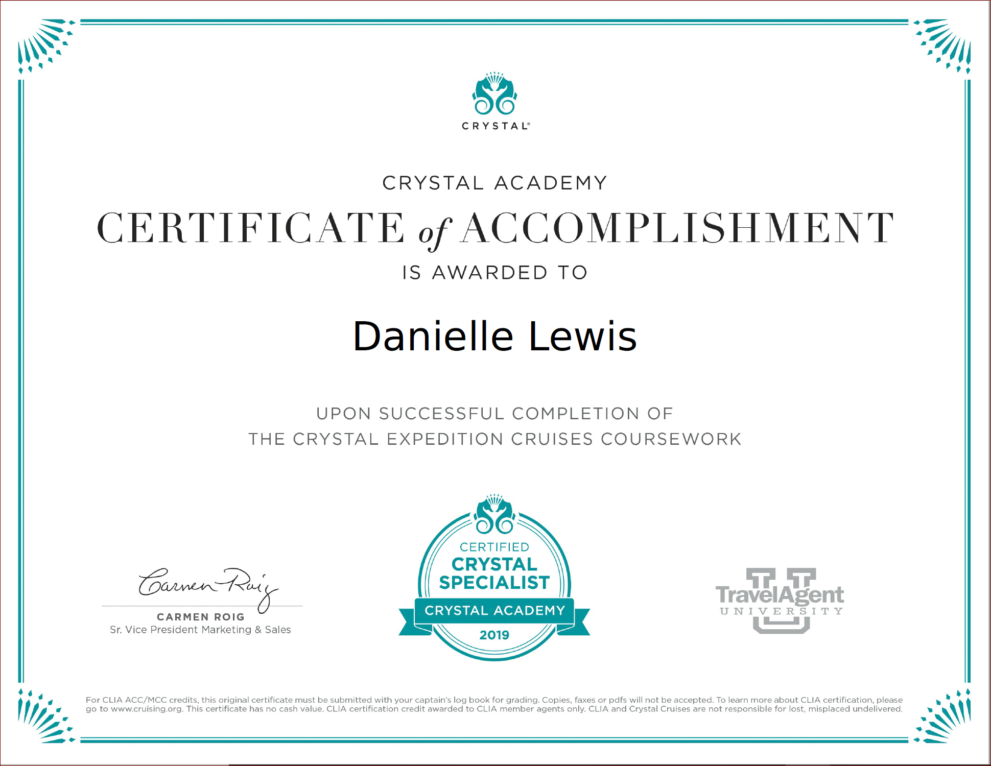 SelfishMe Travel - Crystal Cruises Crystal Expedition Cruises certificate