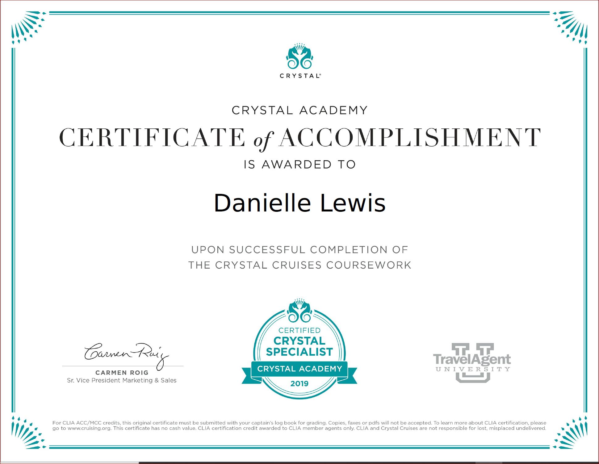SelfishMe Travel - Crystal Cruises Crystal Ocean Cruises certificate