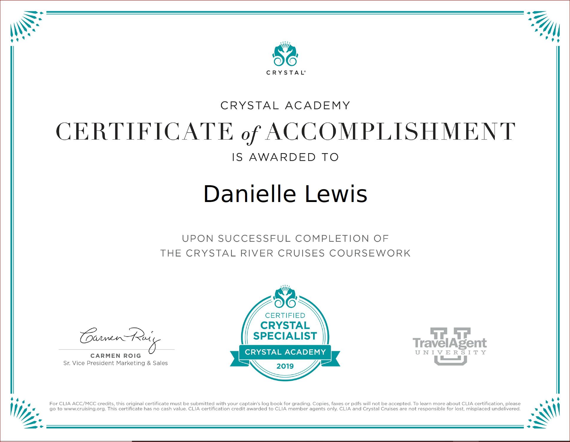 SelfishMe Travel - Crystal Cruises Crystal River Cruises certificate