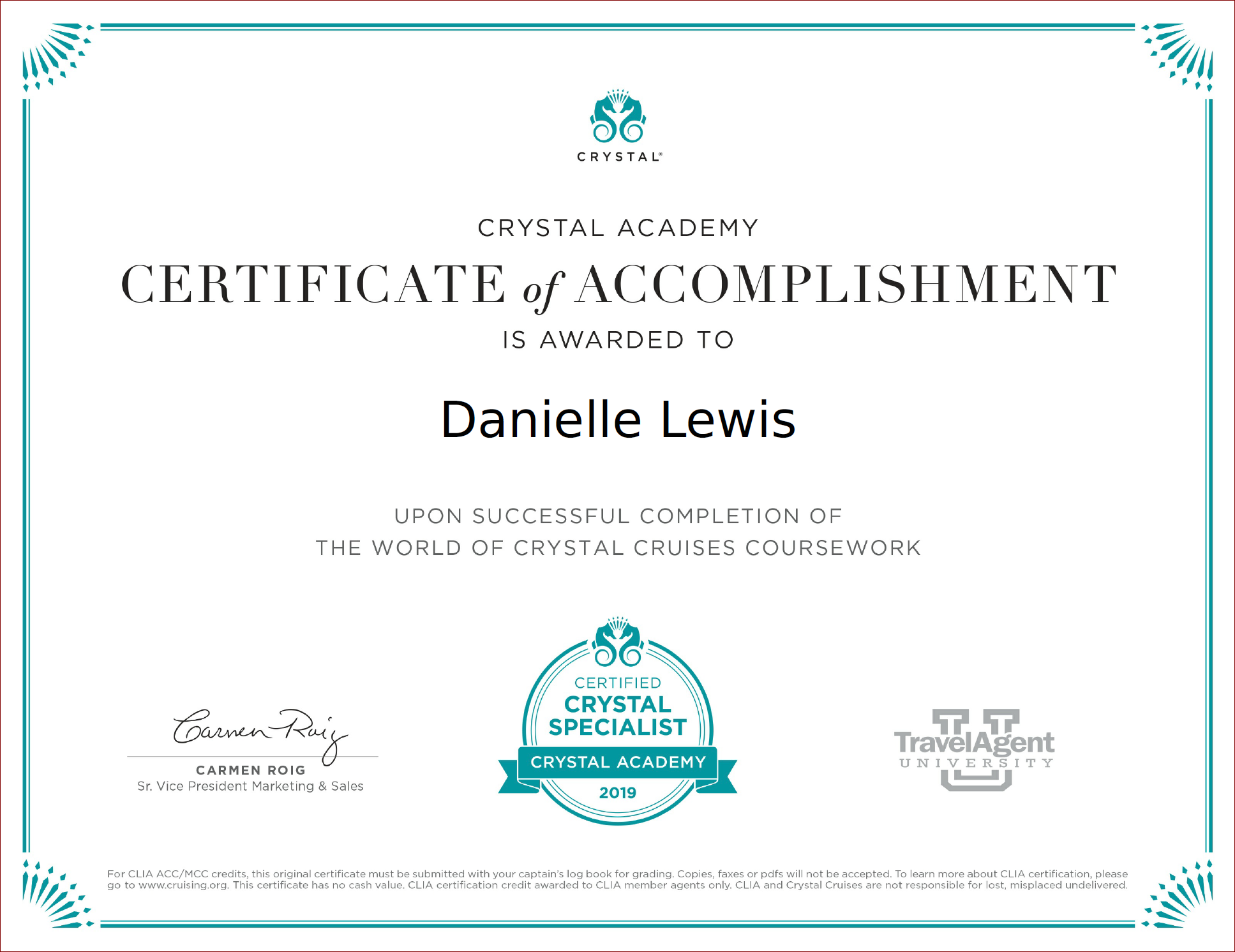 SelfishMe Travel - Crystal Cruises The World of Crystal Cruises certificate