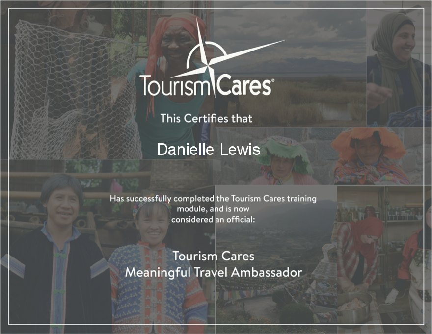 SelfishMe Travel - Tourism Cares Meaningful Travel Ambassador certificate